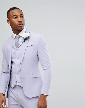 ASOS Супероблегающий сиреневый пиджак Wedding. Цвет: фиолетовый