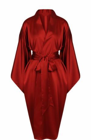 Однотонный шелковый халат с широким поясом Bordelle. Цвет: красный
