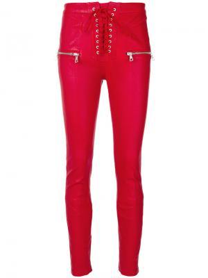 Байкерские брюки скинни Unravel Project. Цвет: красный