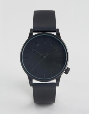 Komono Часы с черным кожаным ремешком Winston Regal. Цвет: черный