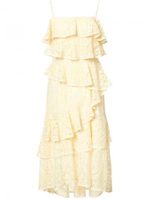 Кружевное платье Addison Ra Rebecca Vallance. Цвет: жёлтый и оранжевый