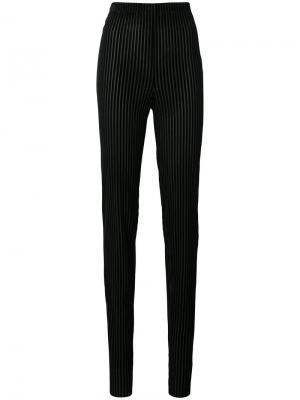 Бархатные брюки скинни в полоску Vionnet. Цвет: чёрный