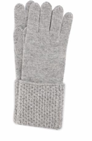 Кашемировые перчатки с отделкой из страз Swarovski William Sharp. Цвет: серый