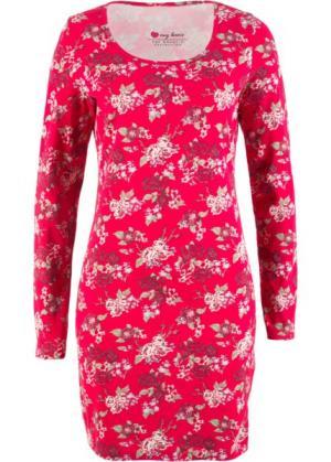 Трикотажное платье стретч с длинным рукавом (красный цветами) bonprix. Цвет: красный с цветами