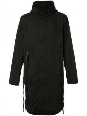 Пальто с капюшоном и принтом на спине Haculla. Цвет: чёрный