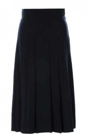 Шерстяная юбка-миди в складку Valentino. Цвет: темно-синий