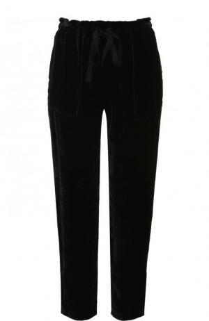 Укороченные бархатные брюки прямого кроя Raquel Allegra. Цвет: темно-синий