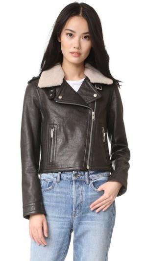Байкерская куртка с воротником из короткой шерсти Doma. Цвет: голубой
