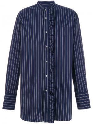 Полосатая рубашка с рюшами Wooyoungmi. Цвет: синий
