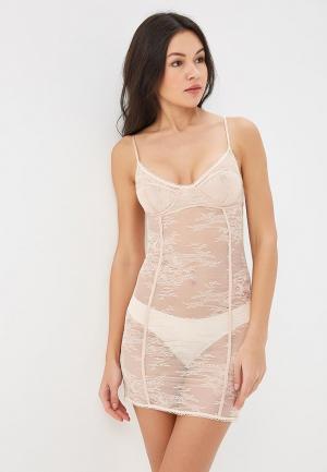 Сорочка ночная womensecret women'secret. Цвет: бежевый