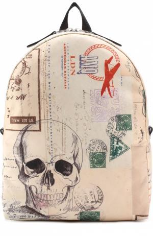 Текстильный рюкзак с принтом Alexander McQueen. Цвет: кремовый
