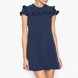 Платье короткое с воланами SISTER JANE. Цвет: темно-синий