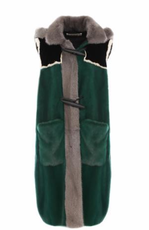Норковый жилет с капюшоном Marni. Цвет: зеленый