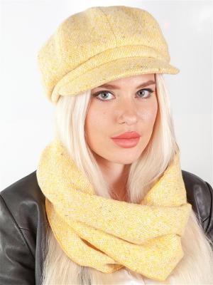 Кепка, шарф LORICCI. Цвет: желтый