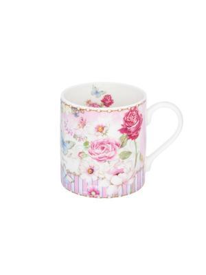 Кружка - подарок Цветочная розовая нежность Elan Gallery. Цвет: зеленый, голубой, розовый