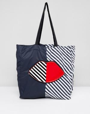 Lulu Guinness Складывающаяся сумка-шоппер в полоску. Цвет: мульти