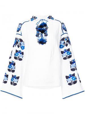 Блузка с вышивкой и кисточками Vita Kin. Цвет: белый