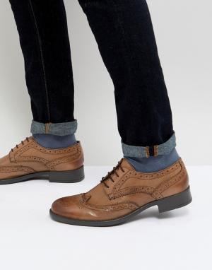 Frank Wright Светло-коричневые кожаные броги. Цвет: рыжий