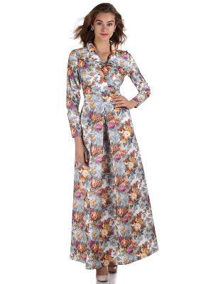 Платье OLIVEGREY. Цвет: серый, оранжевый