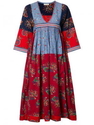 Платье миди с V-образным вырезом и вышивкой Ulla Johnson. Цвет: многоцветный