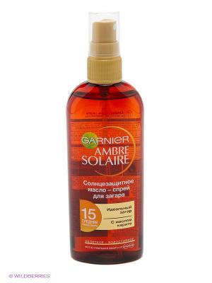 Ambre Solaire Солнцезащитное масло-спрей для интенсивного загара, водостойкое, SPF 15, 150 мл Garnier. Цвет: темно-красный