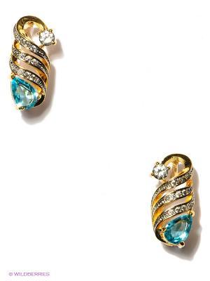 Серьги Royal Diamond. Цвет: золотистый, голубой