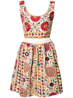 Floral crop top and skirt set All Things Mochi. Цвет: белый