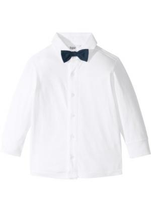 Трикотажная рубашка (2 шт.) (белый/темно-синий с бабочкой) bonprix. Цвет: белый/темно-синий с бабочкой