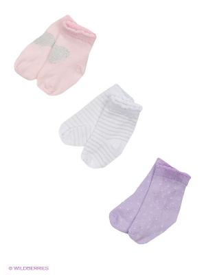 Носки, 3 пары Malerba. Цвет: сиреневый, бледно-розовый, белый