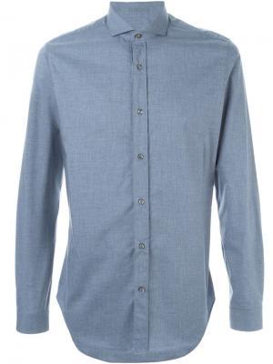 Рубашка с косым воротником Vangher. Цвет: синий