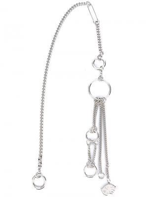 Брелок с цепочками разной длины Valentino. Цвет: металлический