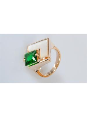 Кольцо Перламутр - фиаинит Lotus Jewelry. Цвет: зеленый, белый