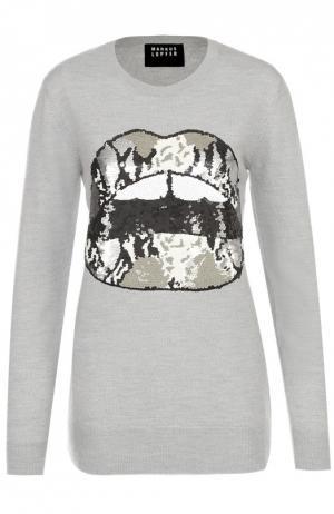 Удлиненный пуловер с контрастной вышивкой пайетками Markus Lupfer. Цвет: темно-серый
