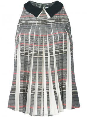 Плиссированная блузка с классическим воротником Cotélac. Цвет: серый