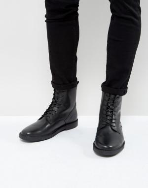Zign Кожаные ботинки на шнуровке с фетровой подкладкой. Цвет: черный