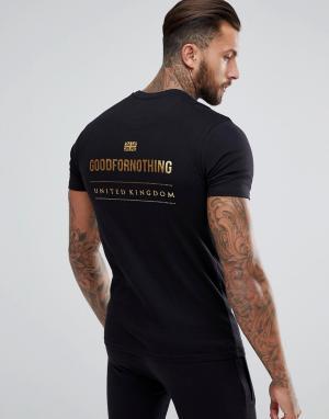 Good For Nothing Черная обтягивающая футболка с золотистым логотипом на спине. Цвет: черный