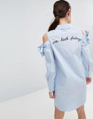 ASOS Платье-рубашка с большими манжетами и вышивкой. Цвет: синий