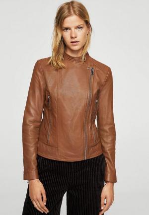 Куртка кожаная Mango. Цвет: коричневый