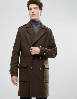 Stanley Adams Удлиненное пальто милитари из ткани с добавлением шерсти. Цвет: зеленый
