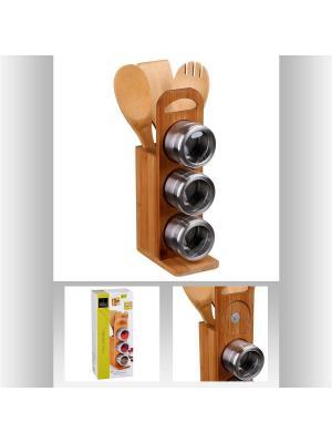 Подставка с банками для специй и столовые приборы JJA. Цвет: светло-коричневый
