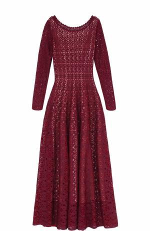 Приталенное вязаное платье-макси с длинным рукавом Alaia. Цвет: бордовый