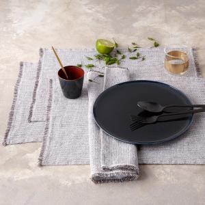 2 столовых полотенца из стиранного льна с зигзагами Ebinta AM.PM.. Цвет: красный