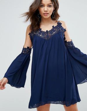 Parisian Свободное платье с открытыми плечами и отделкой кроше. Цвет: темно-синий
