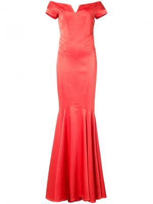 Вечернее платье Trudy Zac Posen. Цвет: жёлтый и оранжевый