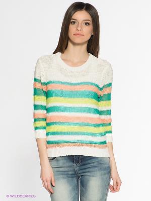 Джемпер People. Цвет: бирюзовый, белый, салатовый, персиковый