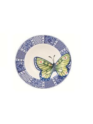 Тарелка для супа Летняя лужайка 23см Elff Ceramics. Цвет: белый, голубой
