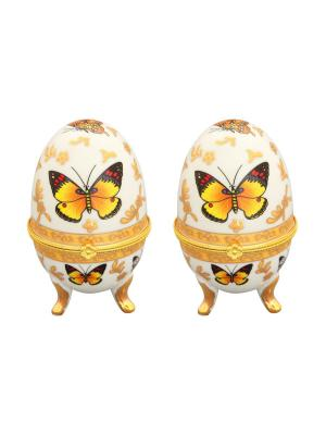 Шкатулка Бабочки, 2 шт Elan Gallery. Цвет: желтый, белый, золотистый