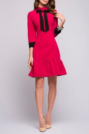 Полуприлегающее платье с рукавами 3/4 ANASTASIA KOVALL. Цвет: фуксия