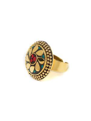 Кольцо Бирюза и Коралл MZ0283 Indira. Цвет: красный