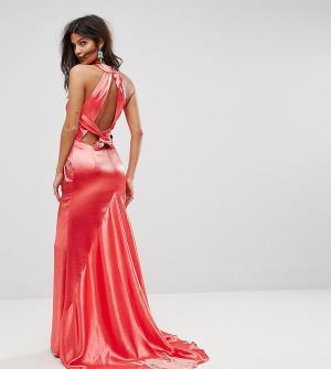 Jarlo Платье макси с американской проймой, юбкой-годе и открытой спиной Jarl. Цвет: красный